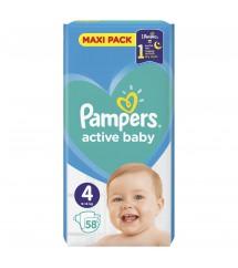 PAMPERS - PIELUSZKI ACTIVE BABY MAXI PACK S4 58 SZT