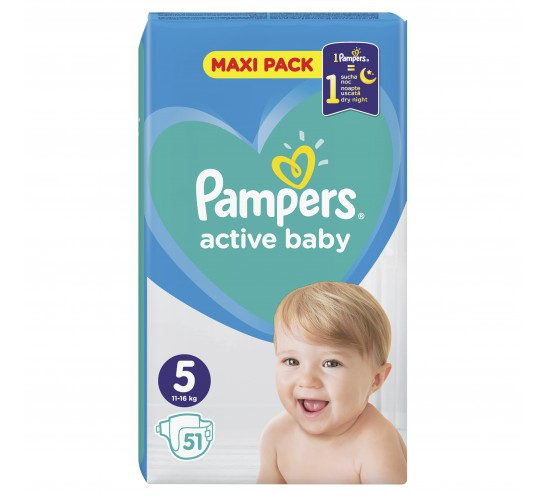 PAMPERS -  PIELUSZKI ACTIVE BABY MAXI PACK S5 51 SZT.
