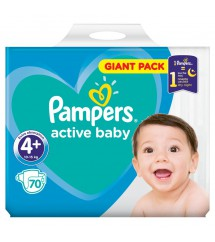 PAMPERS - PIELUSZKI ACTIV BABY GIGA PACK S4+ - 70 SZTUK